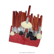 Eco-friendly exquisite 30 pcs make up brush set with red pu bag