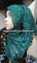 HL023 latest gorgeous handmade muslim lace scarf with crystals