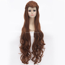 Long sie 80cm hairpieces full size wig The Hobbit Tauriel cosplay wig dark brown Halloween party costume wigs wholesale