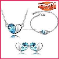 heart pendant earring bracelet jewelry set