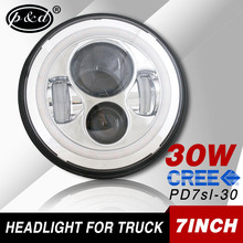 2015 new products in china 30w 7 Inch 2000LM car Led headlight with angel eyes