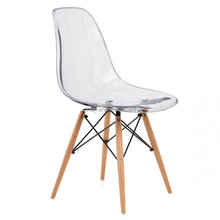Clear acrylic dinng chair with wood leg