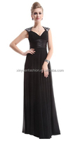 2015 women's Sleeveless sexy V Neck trailing long chiffon Ruffles Line maxi Evening Dress