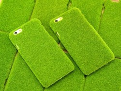 Green grass skin case cover for iphone green plush phone bag
