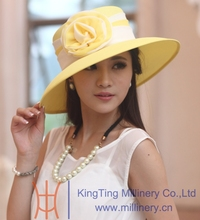 Designer yellow and white australian cowboy hat
