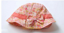 Infant baby kids girls skull ski flower floral printed bucket sun hat with bow ribbon UV protection