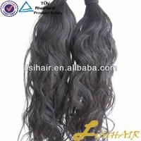 Never Tnangle & No Shedding Natural Color Virgin Human Hair wavy human hair drawstring ponytail