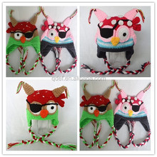 2015 Hand crochet newborn beanie hats knit baby animal owl earflap caps for boys kids and children warm hats