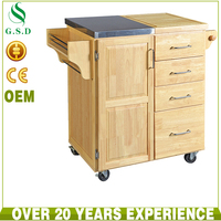 new design high quality stainless steel top rubber wood kitchen trolley