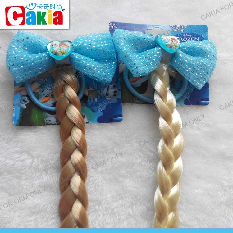 Wholesale Frozen Elsa Gray Color Hair Bow Hair Elastic Band Fake