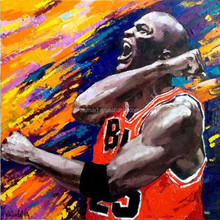 The Always Winner In Basketball Match The God Hand Mike Jordan Oil Painting On Canvas Hand Painted Jordan Roar For Win