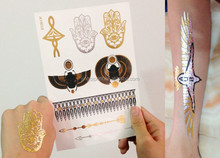 Gold Silver Flash Metallic Temporary Tattoo Supply