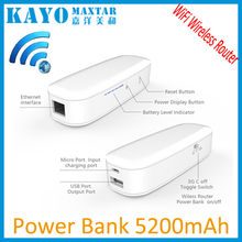 2015 cheap portable power bank OEM white 5200mAh portable 3G wireless router super power bank for smartphone