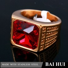 OEM support Customized rose gold plating stainless steel wealthy men ring