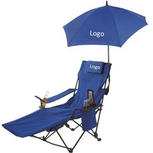 China Manufacturer Recliner Folding Beach/Garden Chair With Footrest And Kite Umbrella