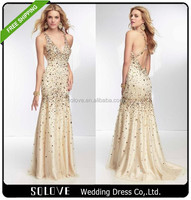 Gold Long Evening Dress Malaysia Online Shopping With A Train(SL-E084)