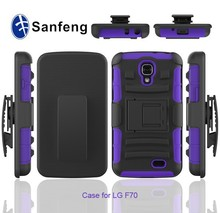 Kickstand mobile phone accessories casing cover for Lg optimus F70 holster belt clip combo case