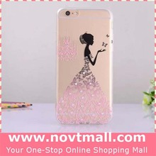 for iphone 6 Ultra-thin Figure Drawing Girl Pattern Back Over Soft Cell Phone Case,Cheap Mobile Case with Rhinestone for Apple 6
