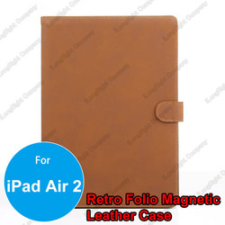 High Quality Retro Folio Stand Magnetic Leather Case Smart Cover for iPad Air 2