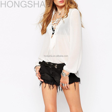 See-through Chiffon Blouse Designs Lace Up Neck Designs For Ladies Tops HST1421