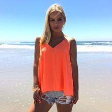 Stylish Lady Women's Beach Tops Strap V-Neck Sexy Sleeveless Blouse SV023781