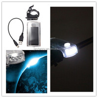 Bike Bicycle 4LED Solar Power USB 2.0 Cable Rechargeable Front Light Lamp Cycling Headlight with mount outdoor sports
