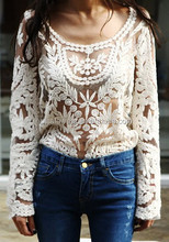 Manufacture White Long Sleeve See Through Women Sexy Lace Tops PW-PLM-505