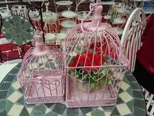 Romantic pink color metal S/2 bird cage flower holder
