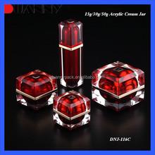 MANUFACTURER RED EMPTY CREAM LUXURY PLASTIC JAR, ACRYLIC BEAUTY JAR