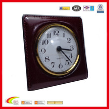 decorative alarm clock black leather upright travel alarm clock