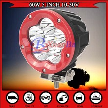 NEW Arrival 5 inch 60W LED Offroad Light Driving Light Red Ring Spot Flood Beam 4X4 SUV ATV Truck Lamp