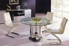 818# Regal Stainless Base Glass Top Dining Table Set