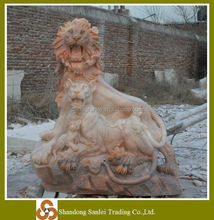 stone lion mother and children sculpture