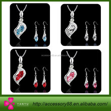 Trend African Wedding Accessories Necklace Pendant Earrings Crystal 18K Gold Silver Plated Bridal Jewelry Sets For Women