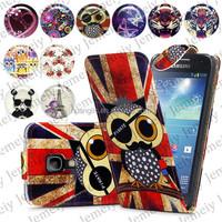 For Samsung Galaxy S4 Mini I9190 Folio Print Flip Leather Case Phone Bag Back Cover Bags