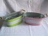 2 color stripes Wooden Handle Decorative Garden Novelty Metal Flower Pot/Metal Flower Dispalyer/Party Beer Cooler