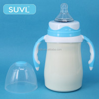 2015 baby products BPA free 150ml wide neck arc shape unique vacuum flask feeding baby bottle for adult