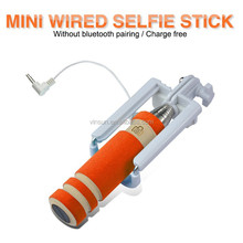 2015 pen size wired selfie stick audio cable selfie stick monopod