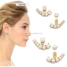 Fashion Design Hanging Earrings Pearl Double Sided Earrings Woman