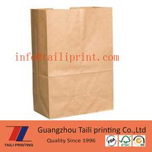 Brown kraft paper bag big food packaging bag carrier bag take out delivery bag