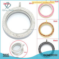 China supplier wholesale 34mm round crystal magnetic open living memory locket, stainless steel floating locket pendants