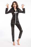 Instyles Gothic Wetlook Catsuit Body Suit Black Faux Leather Zipper Jumpsuits Catwoman