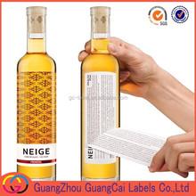 custom product description label sticker permanent sticker private label