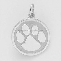 Gold 3 Dimensional The Highest Dog's Paw Print Animal Charm For Necklace Pendant