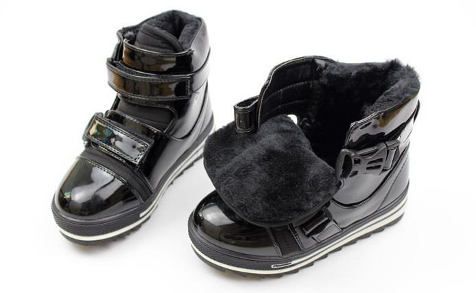 Детская снега сапоги лодыжки сапоги Мартин сапоги новые зимние яркие кожи противоскользящая мальчиков & девочки хлопок мягкие туфли причинной 643