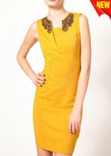 fashion bodycon dress with a curved yoke to the waist D-1343