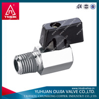 brass audco ball valve with black handle female and male