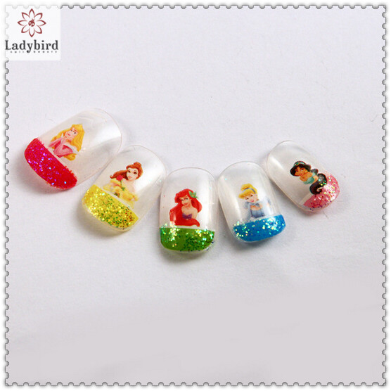 Kids Glitter French Adhesive Fake Nails - Buy Nail Tips,Artificial ...