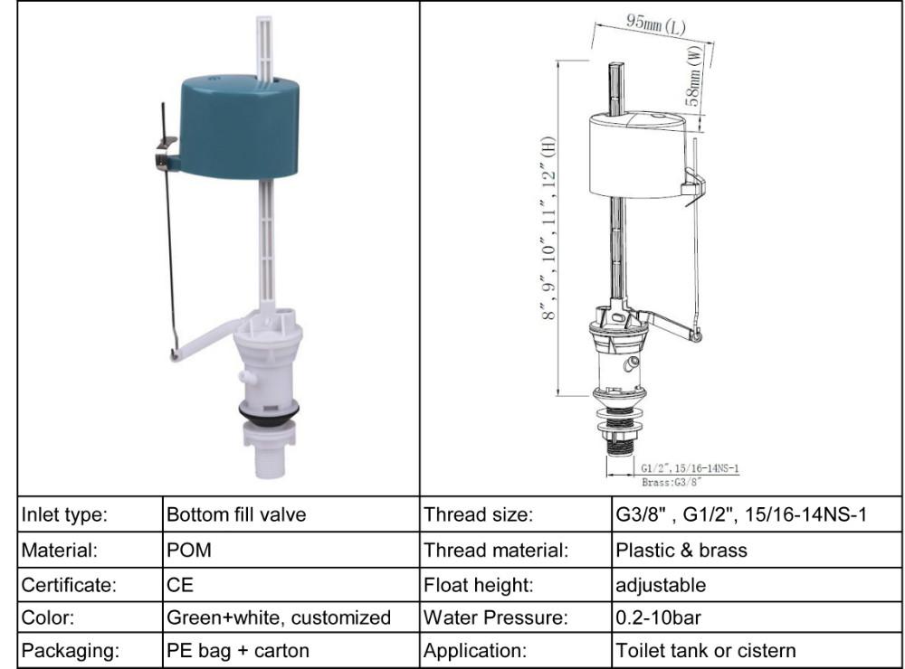 Water Tank Bottom Fill Valves