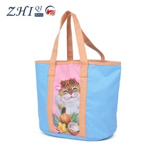Dongguan BSCI wholesale oversize cat carton printed canvas shopping bag with back pocket